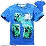33a9bdd1113 Tričko Minecraft modré 3xcreeper vel.140
